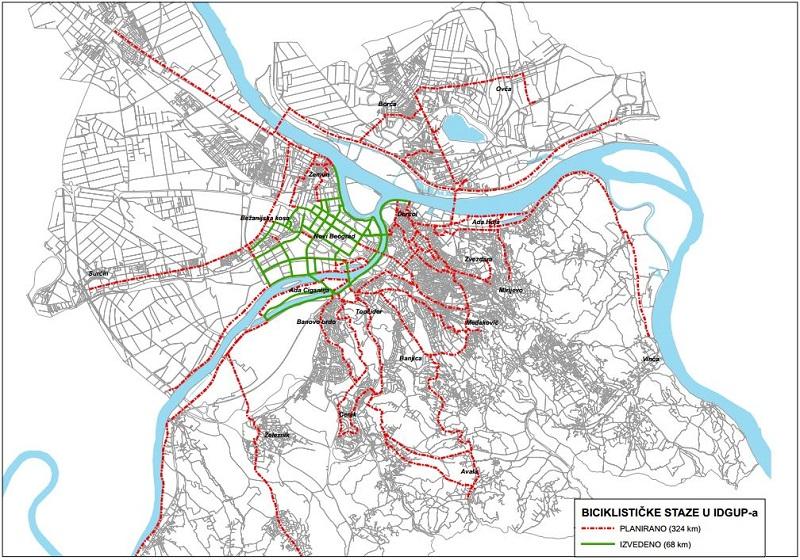 Beograd - mapa biciklističkih staza (www.uzb.rs)