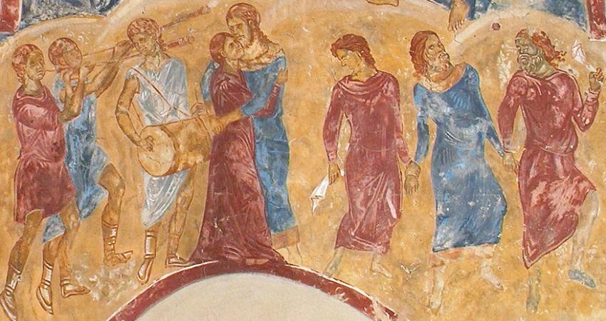 "Freska ""Kainovo potomstvo"", manastir Dečani, detalj"
