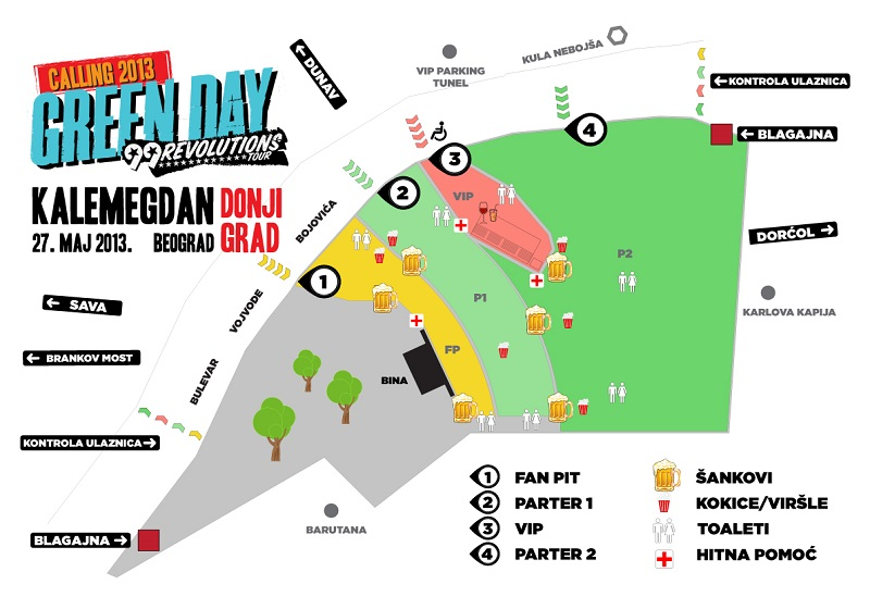 Green Day - Kalemegdan, mapa