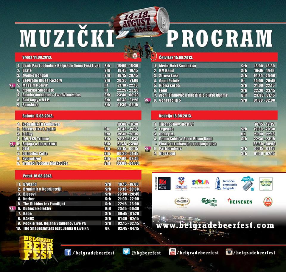 Belgrade Beer Fest 2013 - program