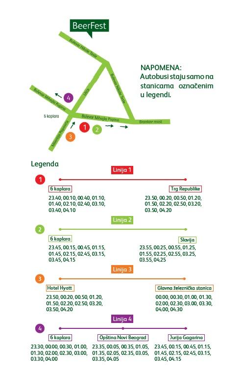 Belgrade Beer Fest 2013 - mapa linija noćnog prevoza