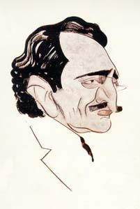 Nušić - karikatura Vladimira Žedrinskog (Muzej grada Beograda)