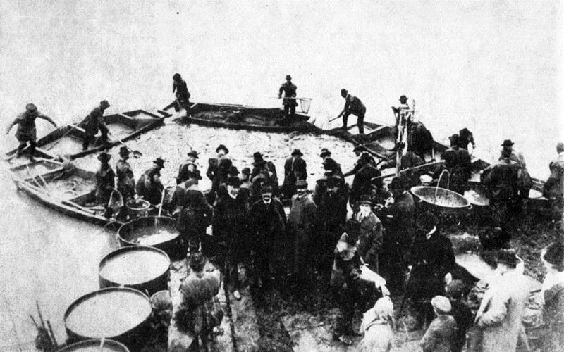 Ulov i merenje ribe - snimak pred I sv. rat