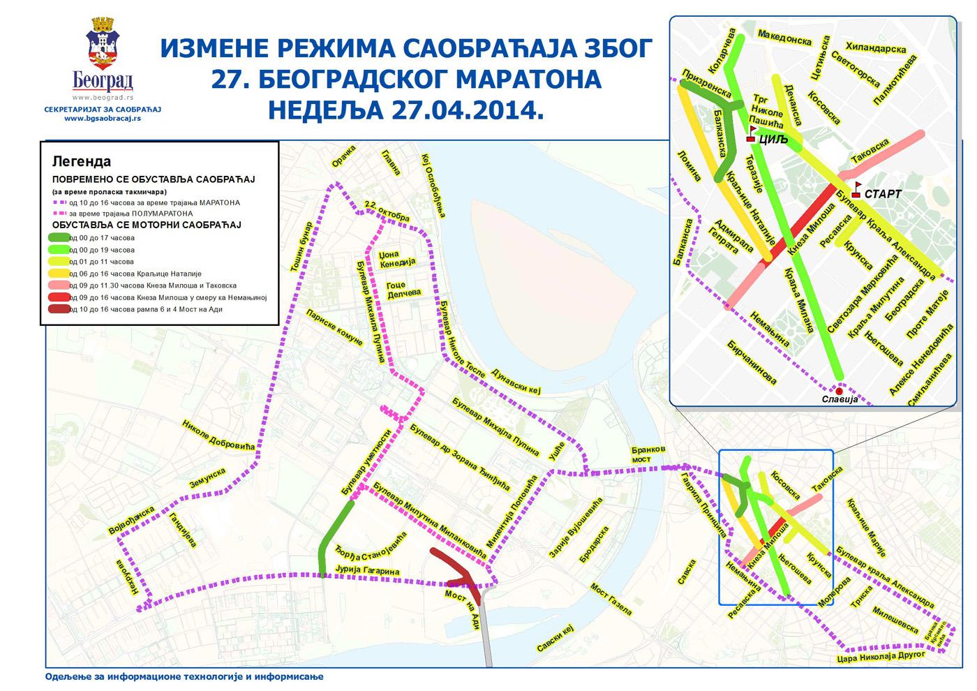 Beogradski maraton - izmene režima saobraćaja