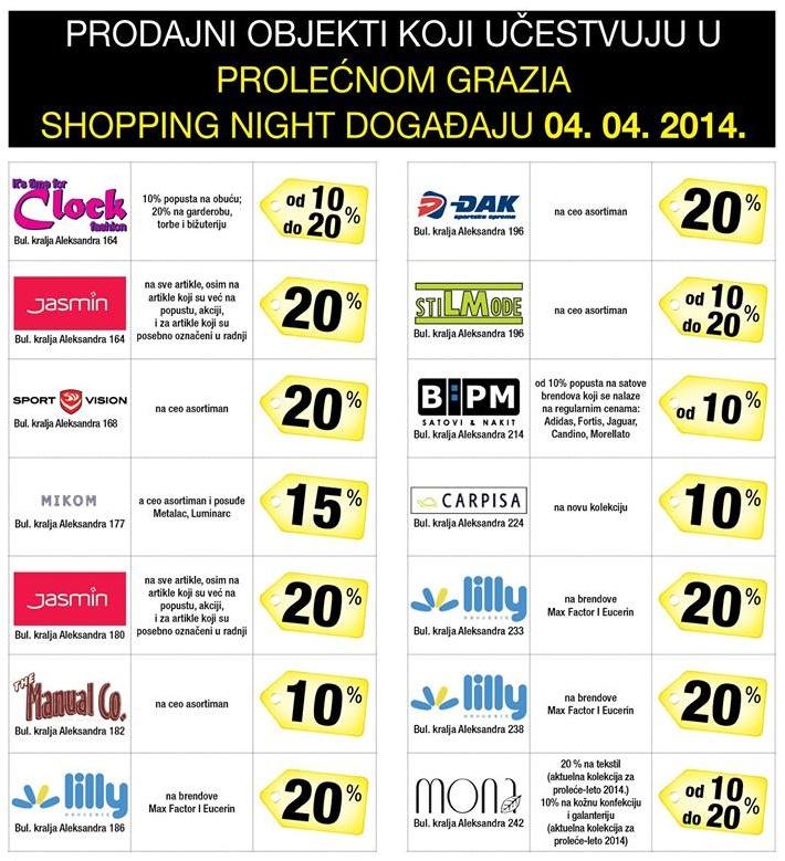 Grazia Shopping Night - popusti