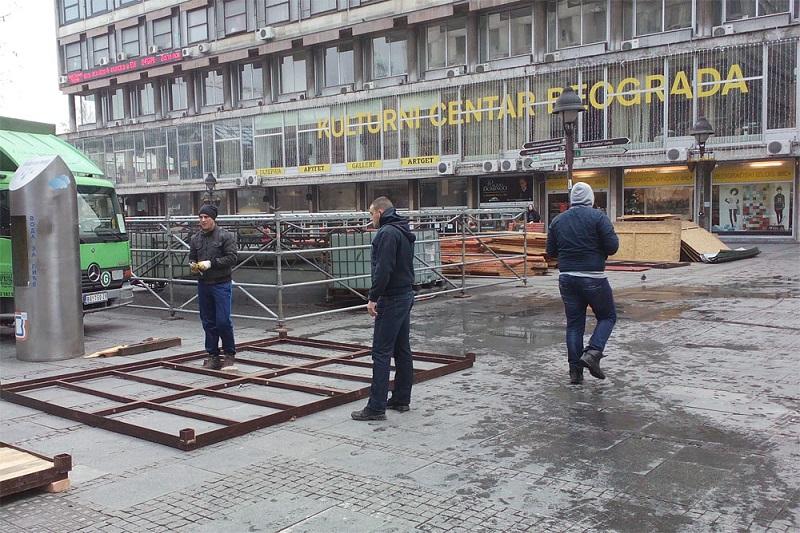 Novogodišnja jelka u Beogradu - postavljanje