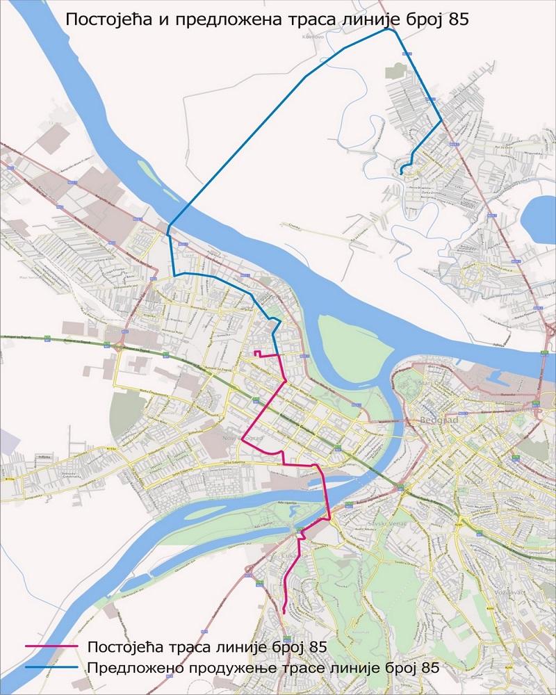 Linija 85 - trasa