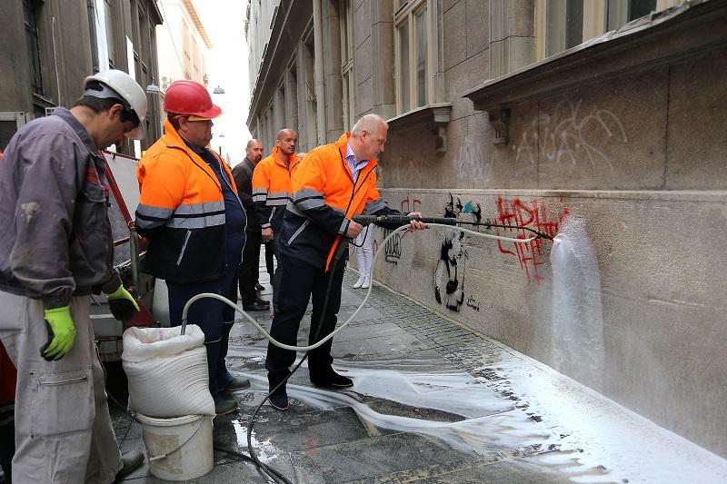 Uklanjanje grafita u centru Beograda