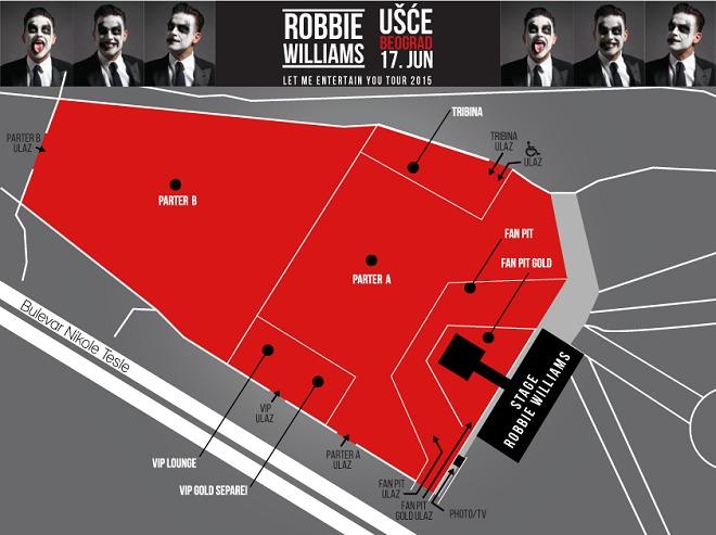 Koncert Robija Vilijamsa - mapa
