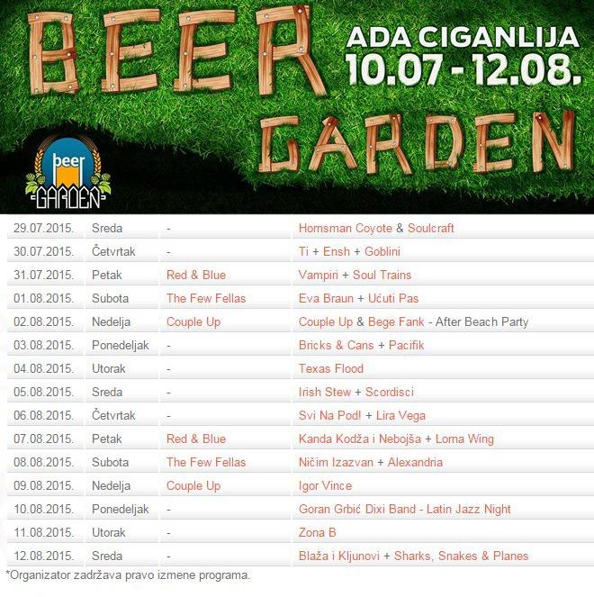 Beer Garden - program 2015
