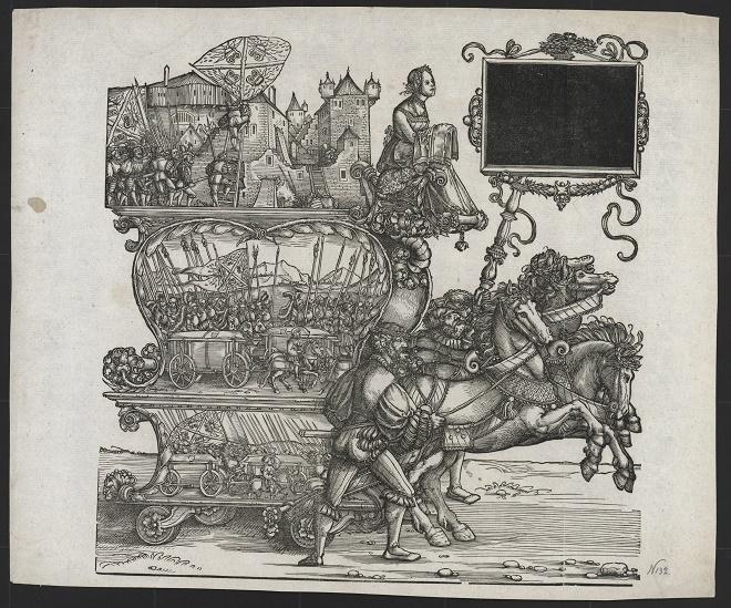 Hans Špringinkle i Albreht Direr, 102. list Trijumfalne povorke cara Maksimilijana I