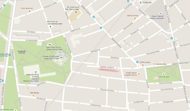 Ulica Mome Kapora - mapa