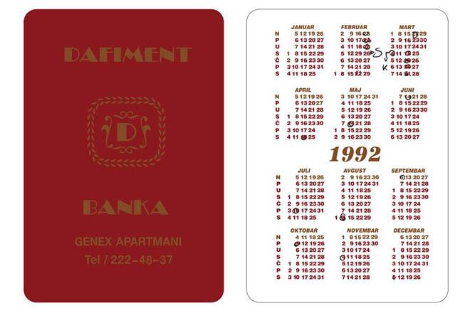 Dafiment kalendar iz 1992. godine polazna tačka