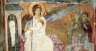 Anđeo na otvorenom grobu svedoči o Hristovom vaskrsenju (Freska Beli anđeo, 13. vek)