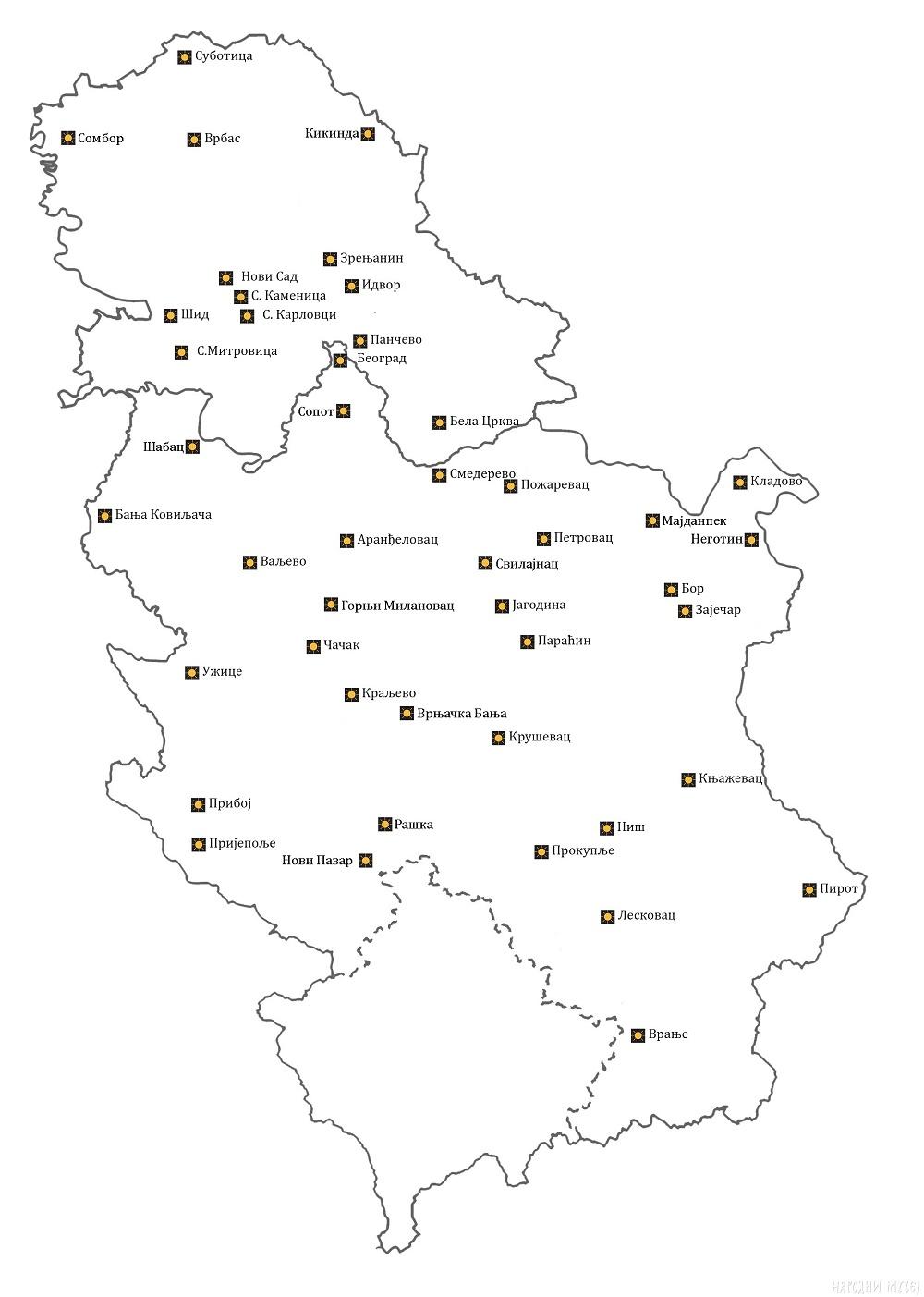 Muzeji Srbije - karta učesnika