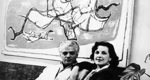 Petar i Vera Lubarda; u pozadini: Besta Fantastica (foto: Legat Petra Lubarde)