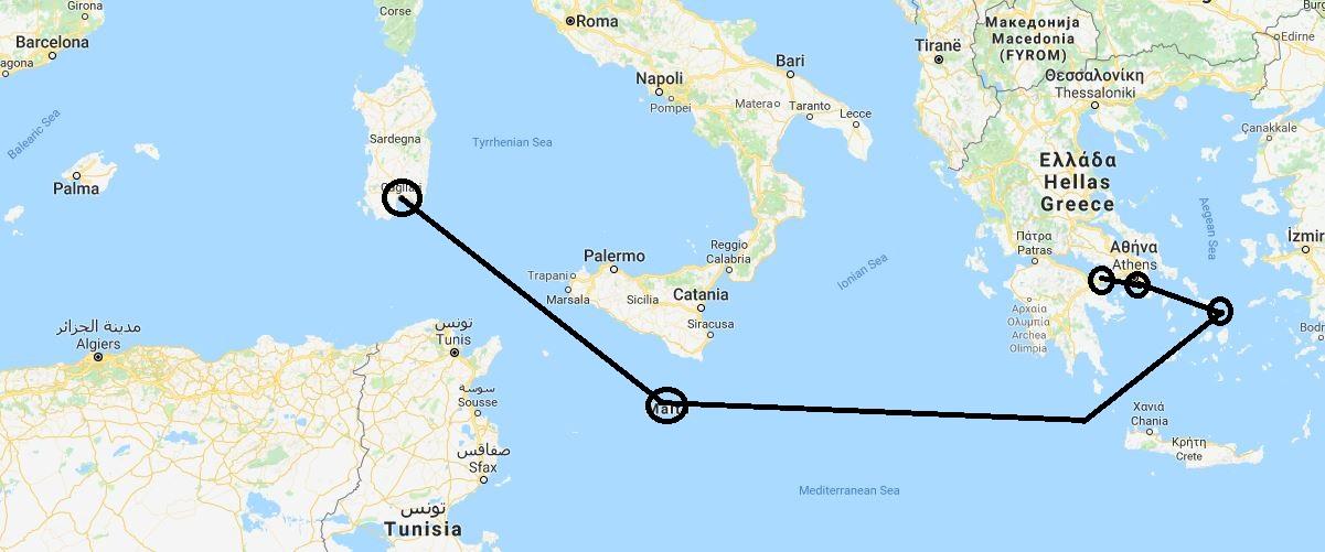 Daedalus Adventure: Plovidba Mediteranom - mapa