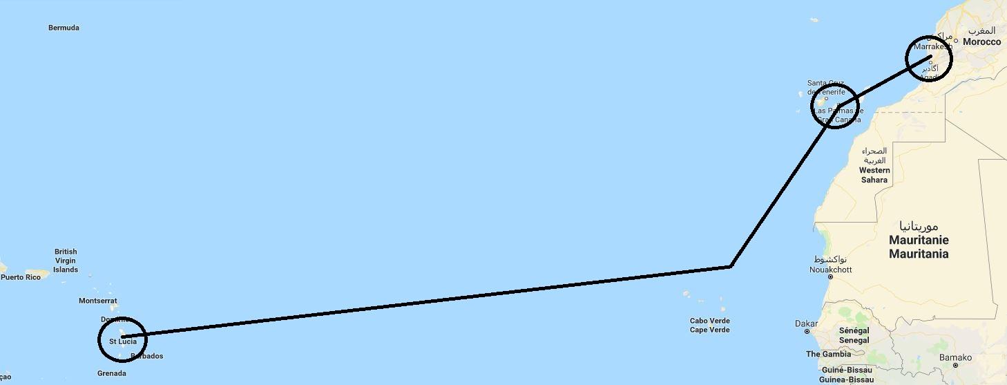 Daedalus Adventure: 23 dana na Atlantskom okeanu - mapa