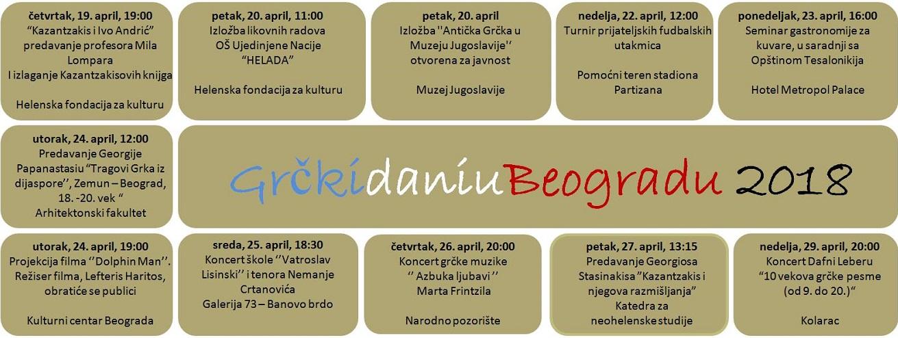 Grčki dani u Beogradu 2018 - program