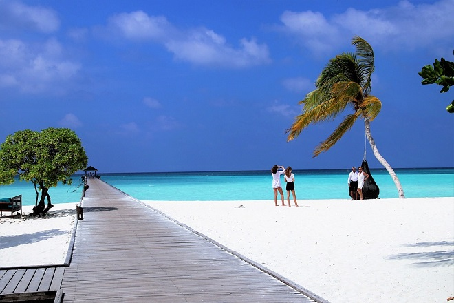 Maldivi - pod palmama na okeanu