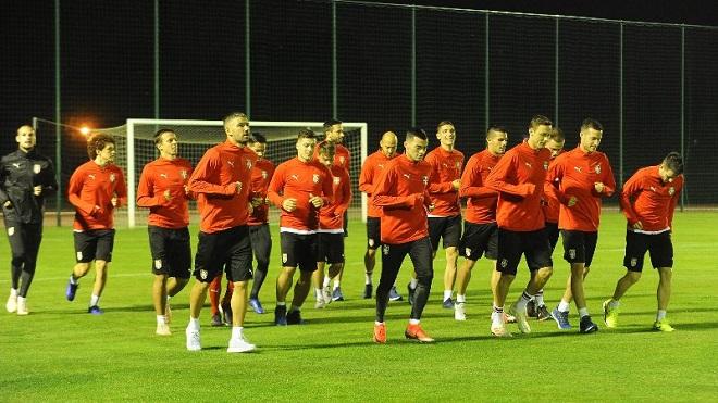 Srbija: fudbaleri na treningu (foto fss.rs)