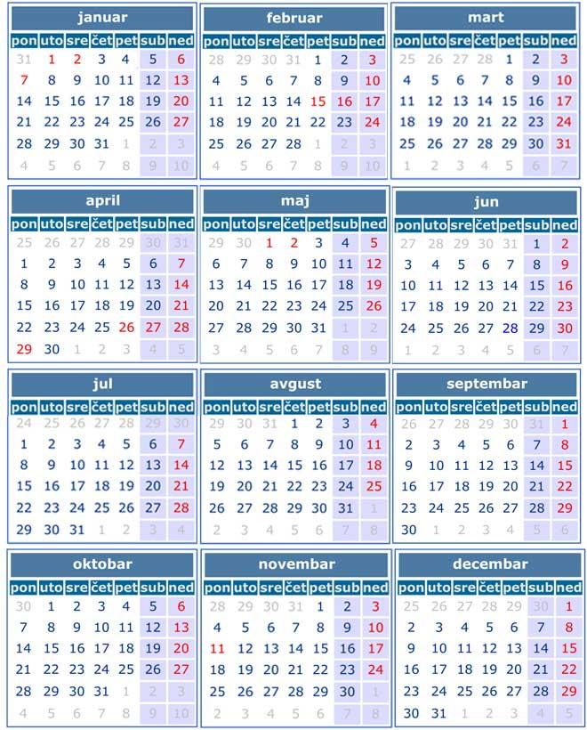 Kalendar za 2019.