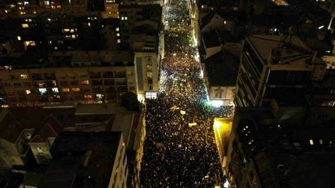 Protest u Beogradu (foto: Savez za Srbiju / Twitter)