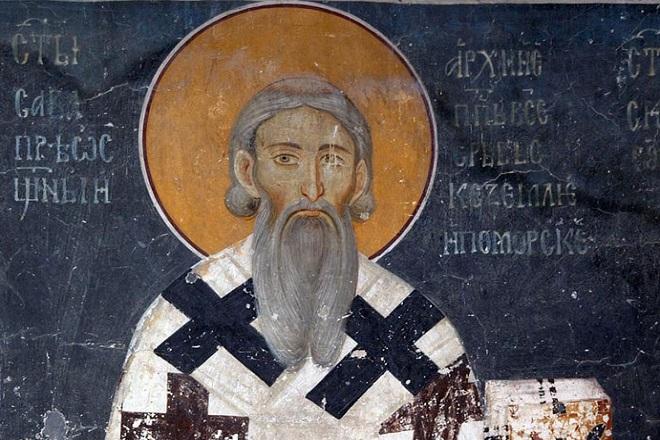 Sveti Sava - freska iz Kraljeve crkve u Studenici