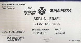 Kvalifikacije za SP 2019. u košarci: Srbija - Izrael; ulaznice u prodaji