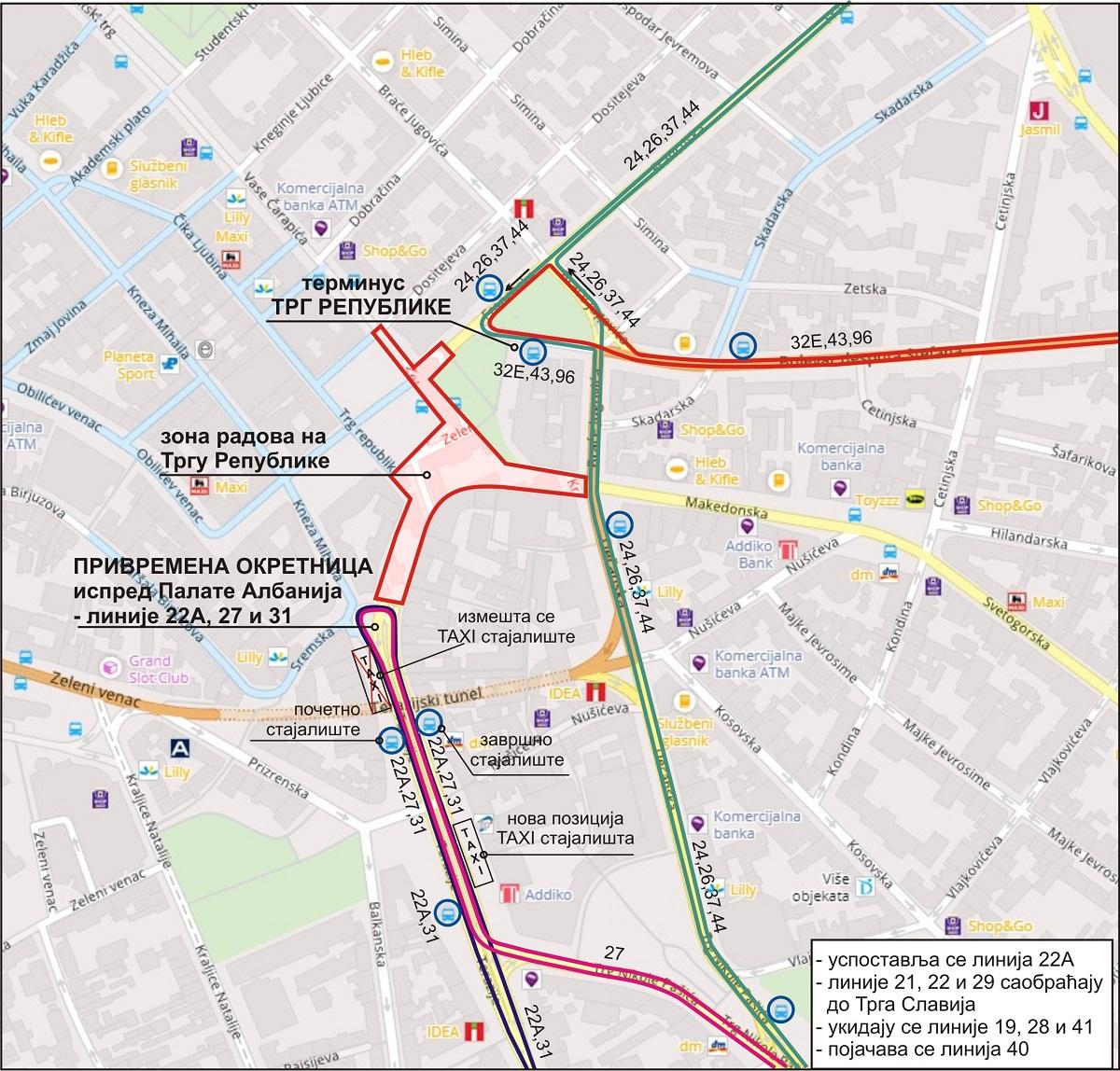 Kolarčeva i Trg republike zatvoreni, izmene u saobraćaju