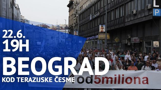 """Protest """"Jedan od pet miliona"""", 22. jun 2019."""