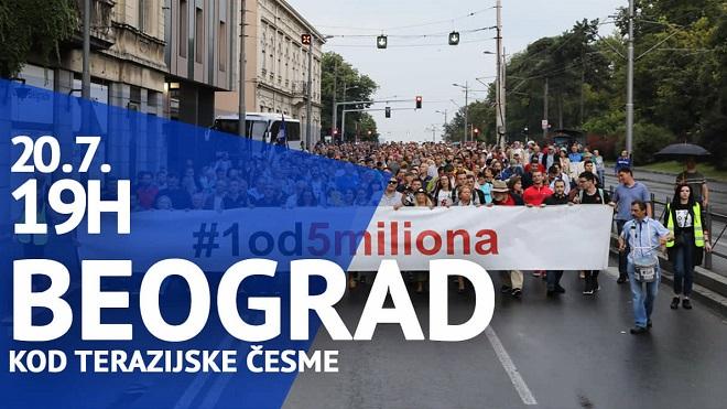 """Protest """"Jedan od pet miliona"""", 20. jul 2019."""