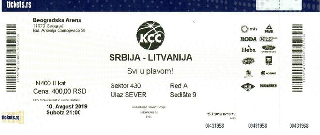 Prijateljski košarkaški meč Srbija - Litvanija u Areni: karte u prodaji