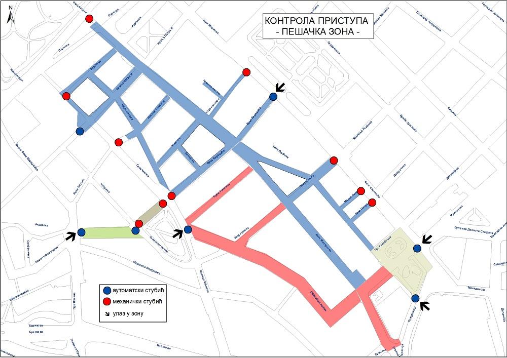 Prva faza kontrolisanog pristupa vozila pešačkim zonama od 31. avgusta 2019.