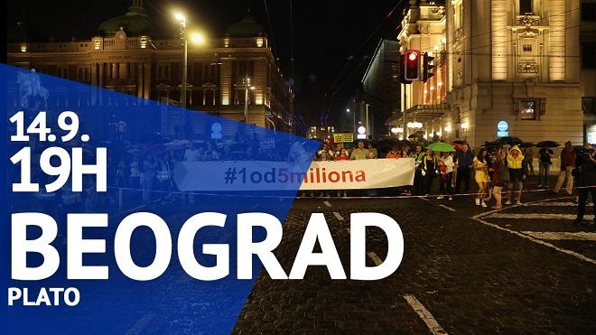 """Protest """"Jedan od pet miliona"""", 14. septembar 2019."""