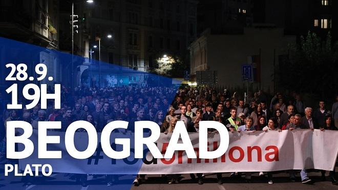 """Protest """"Jedan od pet miliona"""", 28. septembar 2019."""