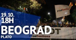"Protest ""Jedan od pet miliona"", 19. oktobar 2019. (foto: poceloje.rs)"