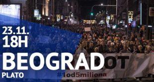 """Protest """"Jedan od pet miliona"""", 23. novembar 2019."""