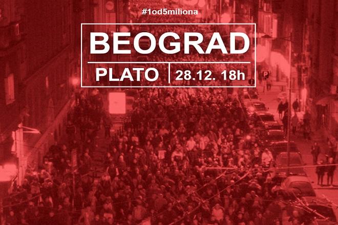 "Protest ""Jedan od pet miliona"", 28. decembar 2019. (foto: poceloje.rs)"