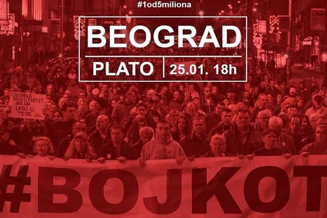 "Protest ""Jedan od pet miliona"", 25. januar 2020. (foto: poceloje.rs)"