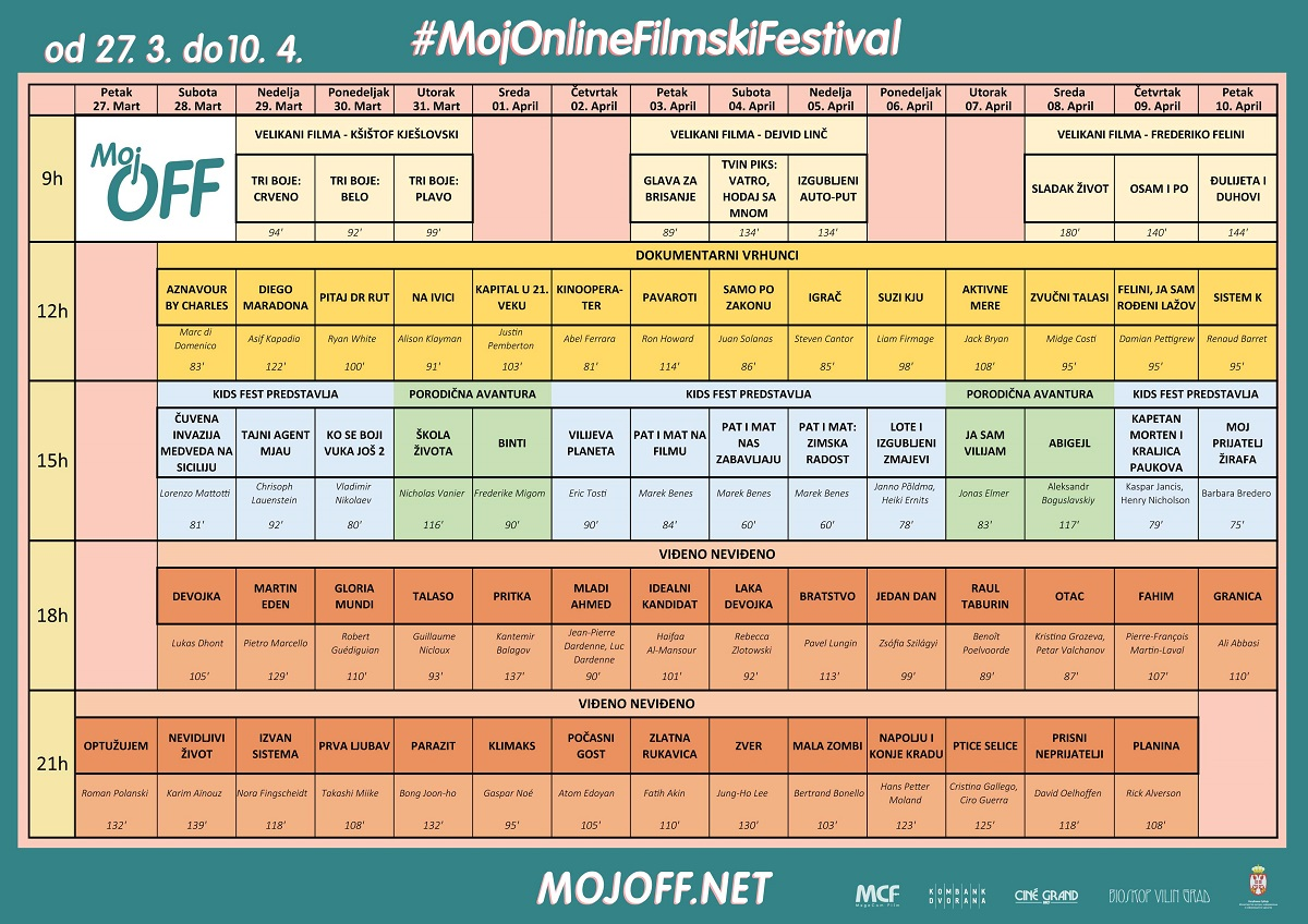 Moj OFF - online filmski festival - program