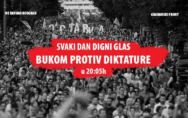 """Akcija """"Svaki dan digni glas: Bukom protiv diktature"""" (foto: Ne davimo Beograd)"""