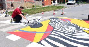 Da li znate... da će slikar oslikati sve pešačke prelaze ispred zemunskih osnovnih škola (foto: GO Zemun)