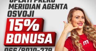 Meridian ti daje 15% bonusa na uplatu od kuće