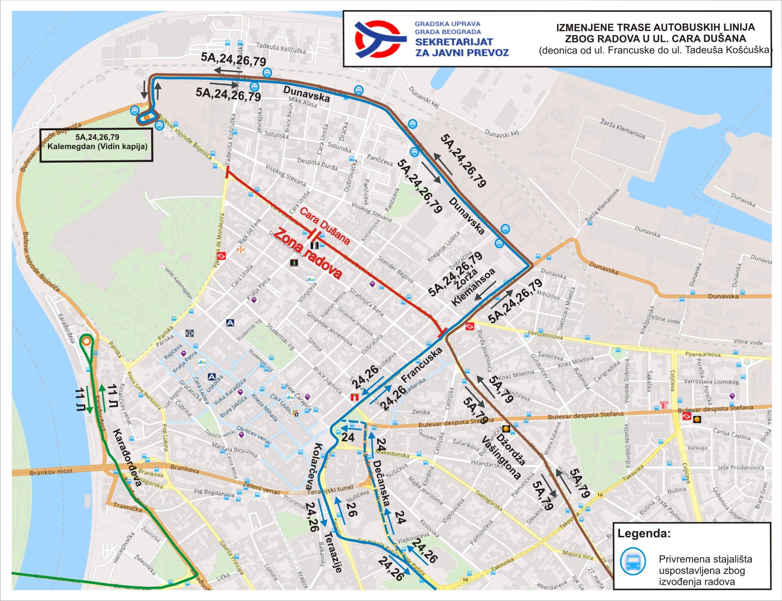 Izmene u režimu saobraćaja u Ulici cara Dušana