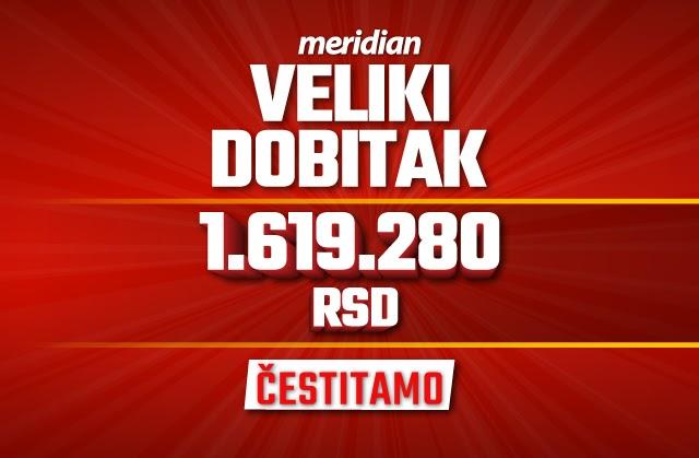 Tiket dubl za isplatu od milion i po - samo u Meridianu