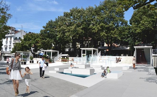 Buduća fontana na platou kod Cvetnog trga (ilustracija: beograd.rs)