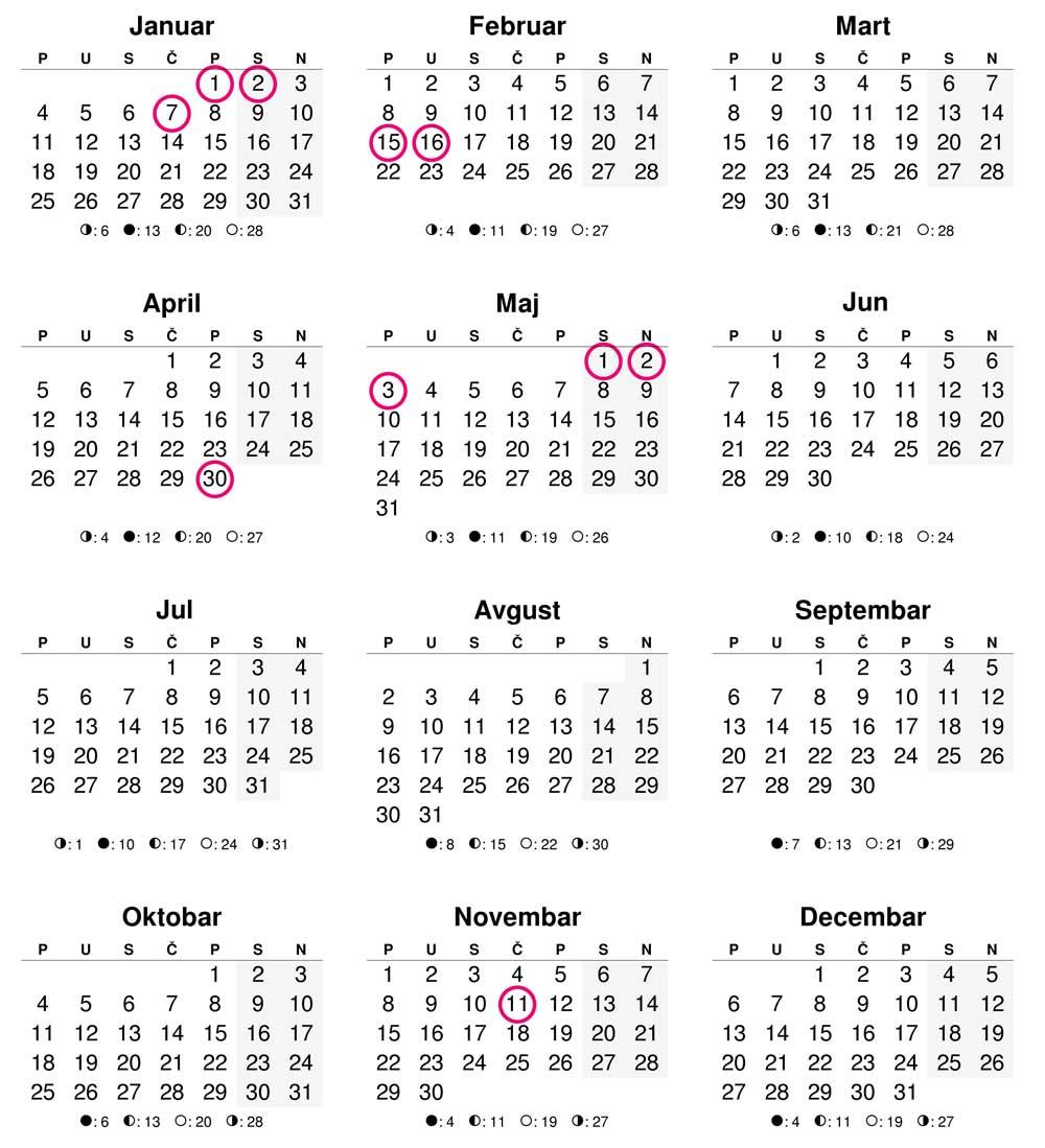 Kalendar za 2021. godinu