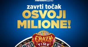 Meridian: ZAVRTITE TOČAK SREĆE - Crazy Time je prepuno bonus igara i vrednih nagrada