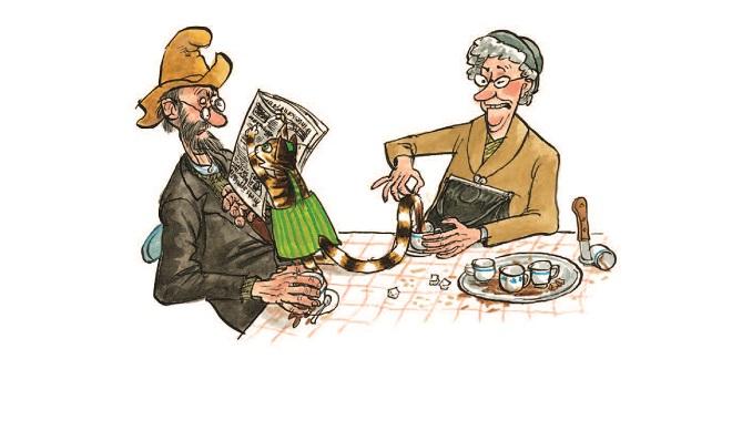"""Ilustracija iz knjige """"Petson pravi Deda Mraza"""""""